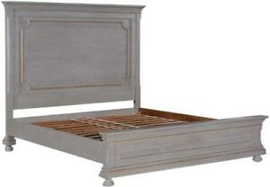 KING BED EDWARD OLD WORLD PEWTER GRAY GOLD ACCENTS DISTRESSED WOOD BUN FEET