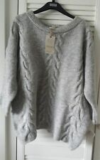 Gorgeous M&S Indigo soft chunky cable knit grey  jumper  size 20 BNWT