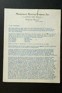 1935 TWO PAGE MONTGOMERY BREWING COMPANY (CHEIF BEER) ANNUAL MEETING LETTER