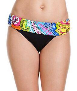 Anne Cole Signature Bikini Bottom Sz L Black Multi Color Banded Waist 14MB329