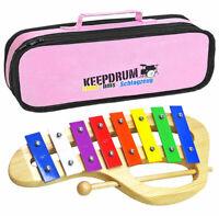 KEEPDRUM KGS-C Glockenspiel für Kinder + Tasche Pink