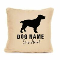 Personalised Springer Spaniel Sits Here Print Cushion Gift For Dog Lover 18 x 18