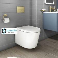 BTW Wall Hung Round Rimless Toilet Pan White Ceramic Soft Close Bathroom WC
