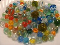 100 Vintage Cats Eye Marbles Shooters Red Yellow Blue Multicolor Gift Play Toys