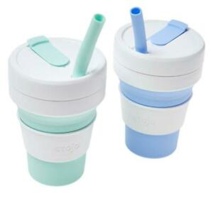 Stojo 2-pack 16 oz. Collapsible and Reusable Cup with Straw - Sky / Mint