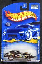 2001 Hot Wheels  Black Corvette Stingray with Flames  Card #135   HW-23-110217