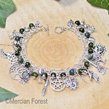 Pagan Ways Charm Bracelet - Moss Agate - Wicca, Witch Jewellery, Pentacle