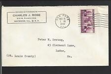 OAK PARK, ILLINOIS 1943 COVER TO LADUE,MO. ADVT CHARLES J. ROSE. COOK CO 1866/OP