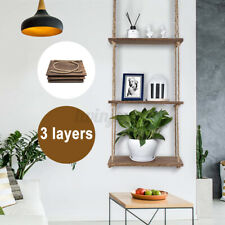 3-Tier Wood Hanging Shelf Wall Swing Storage Shelves Jute Rope Organizer  !!