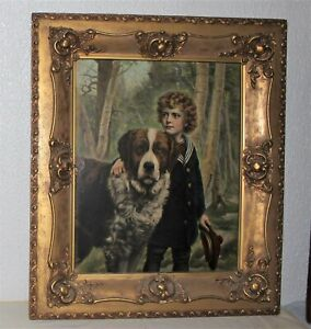 """LARGE 28X2.5X24"""" ANTIQUE BAROQUE GESSO ON WOOD PICTURE FRAME BOY/DOG 16x20"""""""