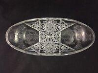 "🔵 Tuthill ABP Cut Glass PRIMROSE Geometric Motif 12 5/8"" Tray - SIGNED"