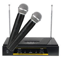 Dual Channels VHF Handheld Cordless Wireless Microphone Mic Receiver System New
