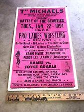 Rare Vintage ORIGINAL 1991 Womens Wrestling Event Poster Wwe Wwf Wcw Nashville