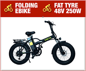 New Electric Folding Bike Fat Tyre 48V 250W FatBike 110 KM Range 6 Gears EBike