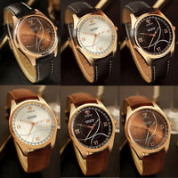 Men Leather Watches Casual Sport Analog Quartz Business Bangle Wrist Watch