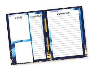 Blue & Gold Opulent Design Desk Planner Memo Pad Pen Notes To Do Shopping List