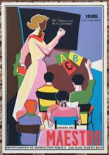 Vera Cortes Poster Serigraph Semana Del Maestro DIVEDCO Puerto Rico 1985