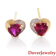 Estate Diamond Synthetic Ruby 14K Two Tone Gold Small Heart Stud Earrings NR