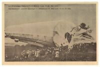 Antique WW1 military German printed postcard crashed Zeppelin airship blimp