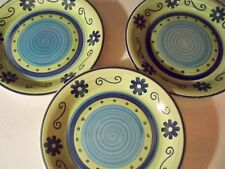 3 MULBERRY HOME COLLECTION DINNER PLATES BLUE AND GREEN WITH FLOWERS AND SWIRLS
