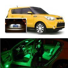 For Kia Soul 2014-2016 Green LED Interior Kit + Xenon White License Light LED