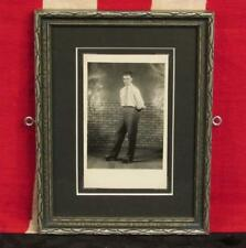 Vintage 1930s Roller Skating Young Man Antique Photograph Framed Roller Skate