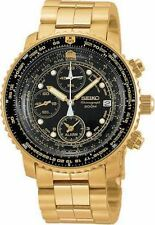 Seiko Men's SNA414 Flight Alarm Chronograph Gold Tone Black Dial Watch