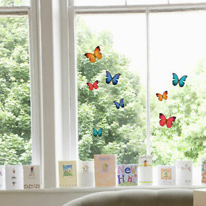 36 Beautiful Butterflies - Static Cling, Easy-Apply, Reusable Window Stickers