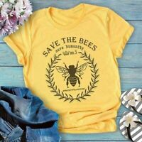 Womens Fashion Save The Bee T-shirt Cute Animal Protection Shirts Plus Size Tops