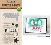 Hero Arts Stamp & Cut - Clear Stamps with Matching Dies, Merry Christmas
