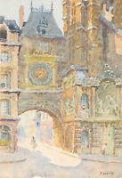 J. Savalle-Lemarchand (b.1920) - Uhrenturm in Rouen - Aquarell - Signiert