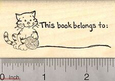 Cat Bookplate Rubber Stamp, This book belongs to H3711 Wm