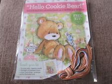 'Hello Cookie Bear!' cross stitch card kit Includes chart