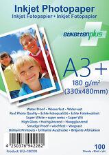 100 Blatt Fotopapier Fotokarten A3+ 180g/m² weiß glänzend glossy Photopapier