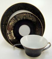 Sammelgedeck Kaffeegedeck Weimar Porzellan 3tlg. blau mit Golddekor & Goldrand