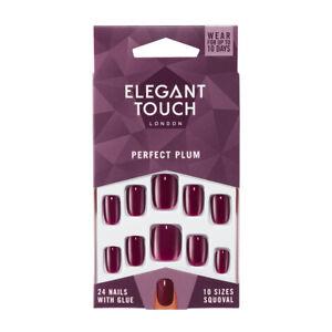 Elegant Touch 24 x PERFECT PLUM False Nail Tips & Glue Moisture Free Polished
