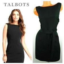 New TALBOTS 14P 14 Petite DRESS  LBD Belted BLACK Sleeveless SILK Blend    J