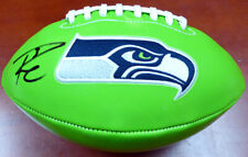 RUSSELL WILSON AUTOGRAPHED SIGNED GREEN LOGO FOOTBALL SEAHAWKS RW HOLO 113614