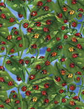Ladybugs on Leaves Nature Outdoors Timeless Treasures #5693 By the Yard