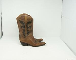 FRYE Borwn Leather Studded Cowboy Western Boots Womens Size 7M