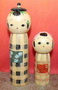 Japanese Traditional Wooden Kokeshi Doll Set of 2 Head Face Removable Vintage