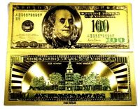 99.9% 24K GOLD $100 BILL US BANKNOTE IN PROTECTIVE SLEEVE FREE SHIPPING