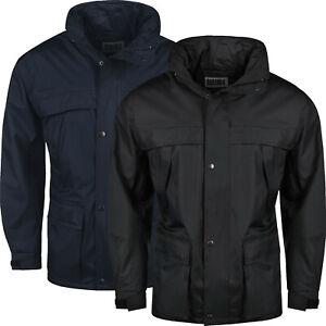 New Mens Raincoat Hooded Waterproof Jackets Windproof Zip Up Outdoor Work Coats