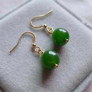 Fashion Big round Green Agate Gold Earrings Holiday gifts Easter Hook Jewelry