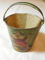 ANTIQUE TIN LITHO EMBOSSED SAND PAIL / BUCKET OLD KING COLE