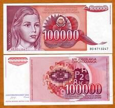 Yugoslavia, 100000 (100,000) dinara, 1989, P-97 UNC > Girl