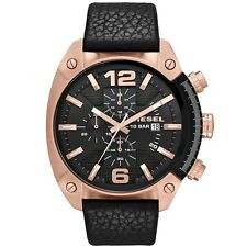 **NEW** DIESEL MENS ROSE GOLD BLACK OVERFLOW XL LEATHER WATCH DZ4297 RRP£169