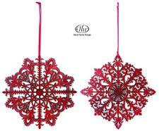 """IHR:""""Glory Star Rouge"""" décorations Noël en bois maison/arbre/vitrine (Petit 2pz"""