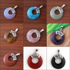 Silver Plated Natural Amethyst Agate Stone Round Hollow Meditate Pendant Jewelry