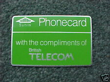 BT 5u Phonecard BTD 005 1st Complimentary - MINT UNUSED